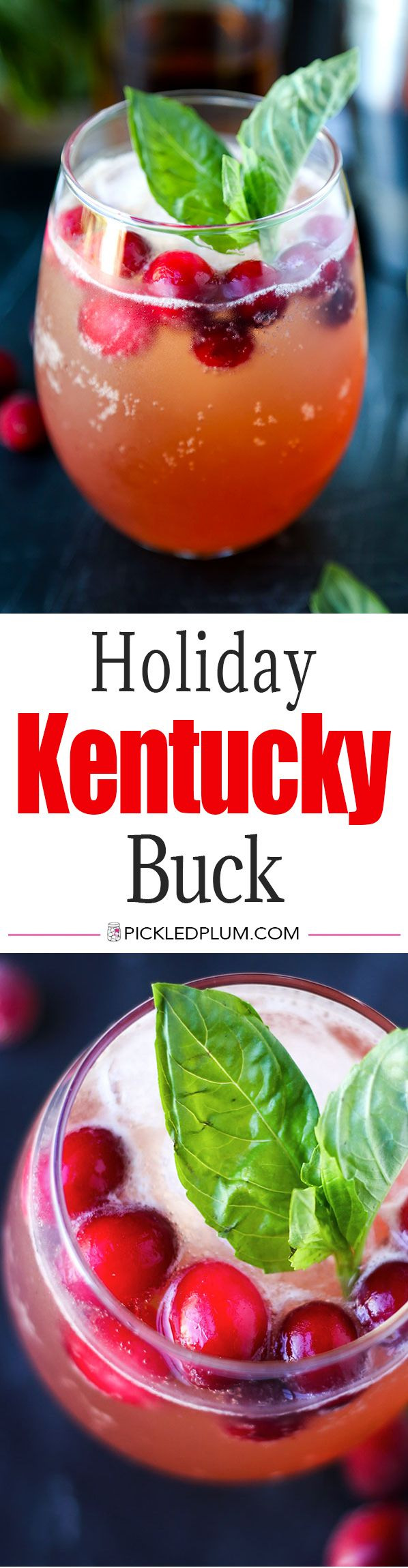 Holiday Kentucky Buck - Get into the holiday spirit with this fresh Holiday Kentucky Buck Recipe. Boozy holiday fortifications never looked more festive or tasted quite so bright! Recipe, drinks, cocktail, whiskey, Christmas, cranberry | pickledplum.com