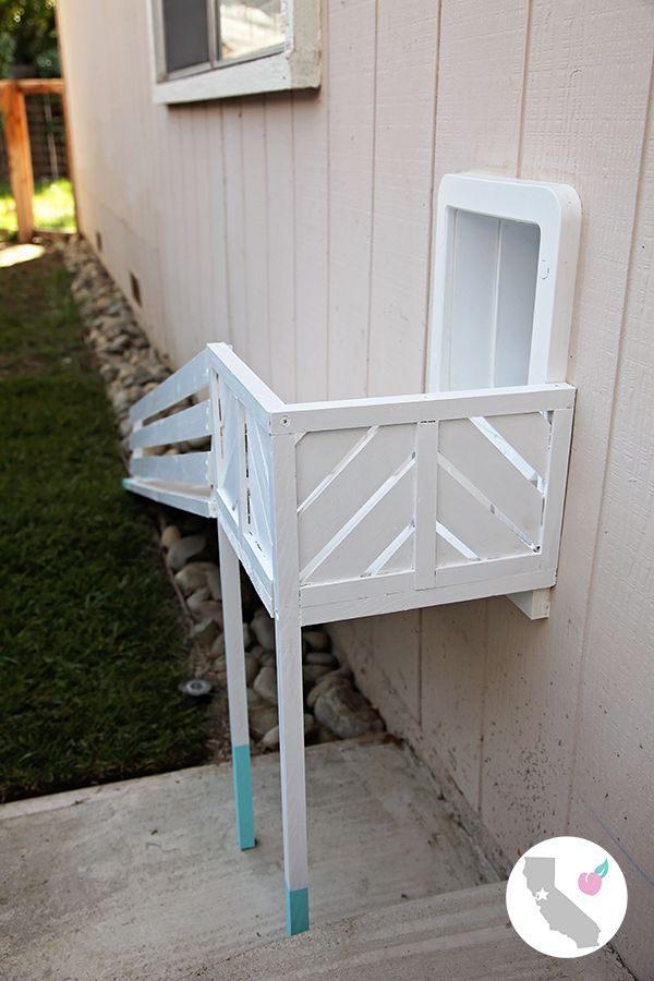 DIY Dog Door Ramp || California Peach || DIY, Dog, Dogs, Door,  Dog Door, Dog Door Ramp, Ramp, Dipped, Dip, Blue, White, Railing, Modern, Contemporary, Small Dog, SureFlap, Pet Door,