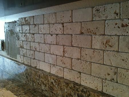 9 2x4 tumbled brick chiaro travertine backsplash travertine backsplashbacksplash ideaskitchen - Stone Backsplash Ideas For Kitchen