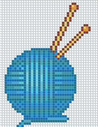 Cross Knit Loop Stitch : ball of yarn and needles C2C Crochet Graphghans Pinterest Wool, Charts ...