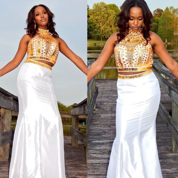 White and Gold two piece trumpet prom dress Size U.S. 6 White and Gold 2015 Prom Dress. Trumpet bottom. Two Piece. Back cut out. Neck piece. Worn once. Dresses Prom