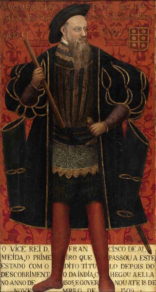 18- Retrato de D. Francisco de Almeida (após 1545) - Autor desconhecido.- § MAGELLAN: .. avant de participer à la prise de Malacca à l'été 1511 sous le commandement d'Afonso d'Albuquerque. Son ami Francisco Serrao atteint l'île de Ternate dans les Moluques où il s'établit après avoir gagné les faveurs du roi local. Magellan recevra des nouvelles de son ami Francisco Serrao par courrier, avant de quitter Malacca le 11 janvier 1513 pour rejoindre le Portugal.