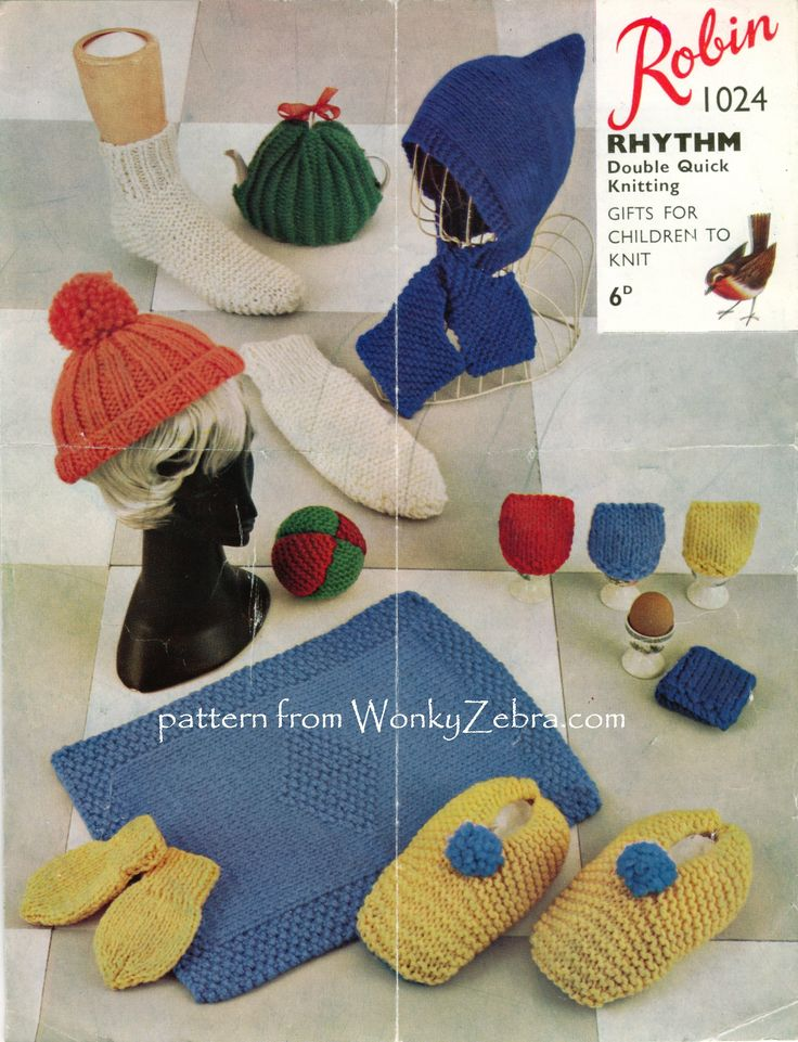 A cute 'learning to knit  Bazaar pattern with  all the usual suspects ; hats,slippers,socks,mitts, blanket tea and egg cosies and a littl ball.
