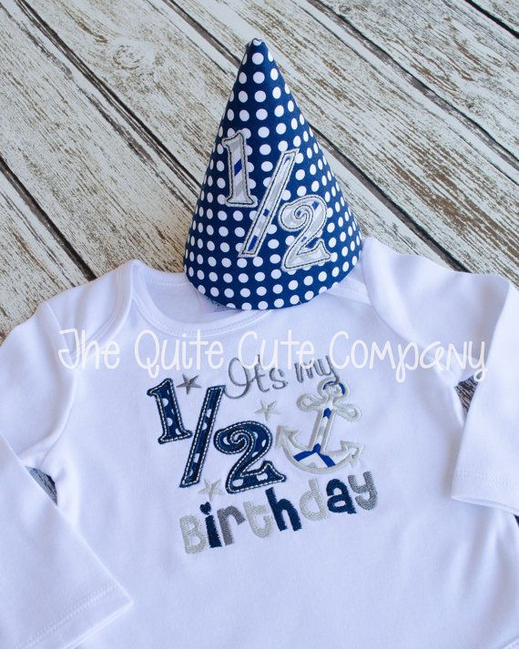 Boys Nautical Bodysuit with Anchor-Great by TheQuiteCuteCompany half birthday 6 months outfit
