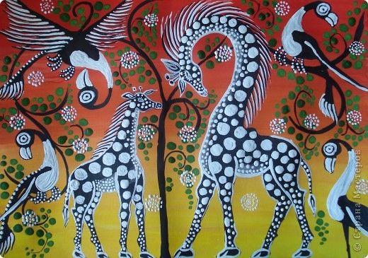 Мастер-класс Урок рисования Рисование и живопись Жирафы в стиле Тинга Тинга…