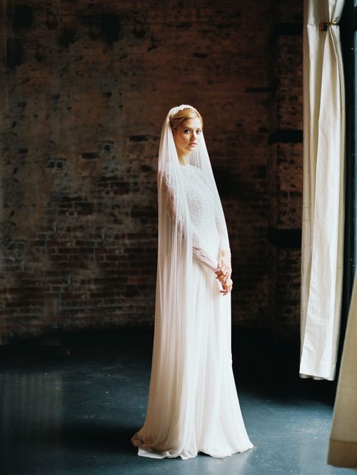 Silk tulle full length veil with silk petal detail / hushed commotion veil / image by kate ignatowski