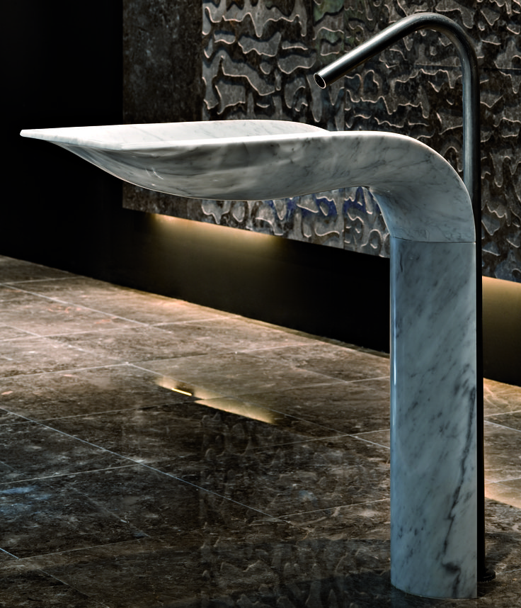 Hand carved stone basin made to order. By Urban Edge Ceramics.