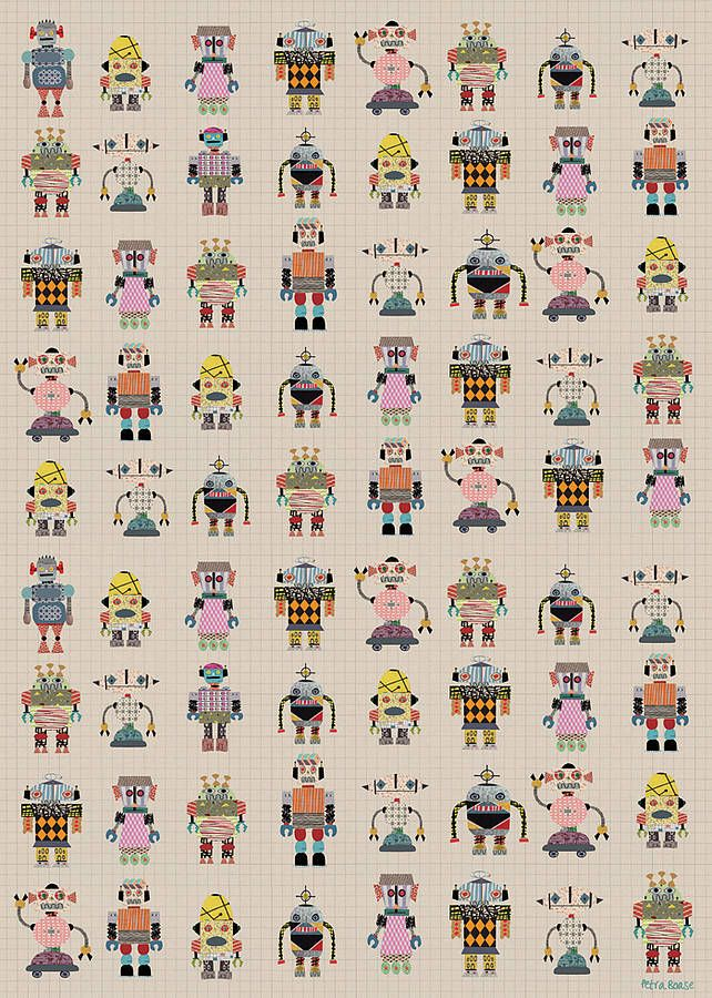robot wrapping paper two sheets by petra boase | notonthehighstreet.com