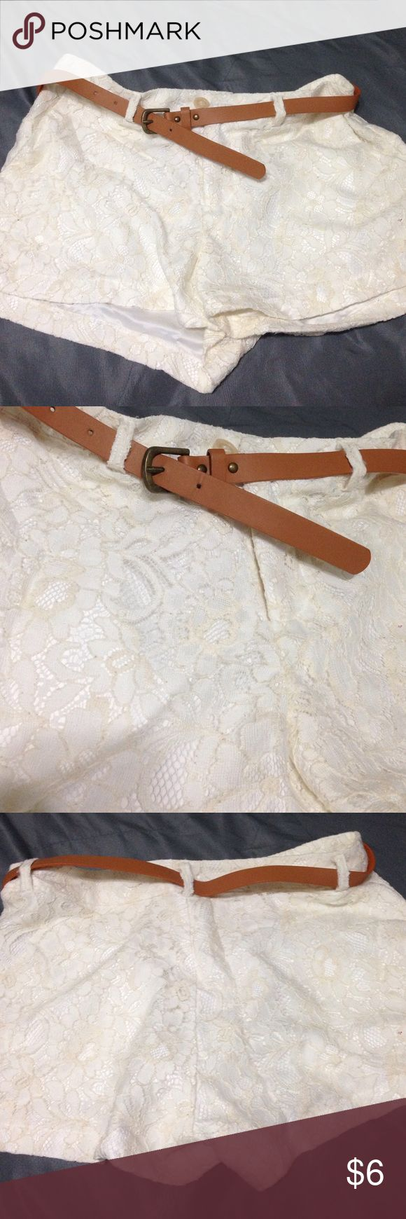 Cream lace shorts with belt Great condition Shorts