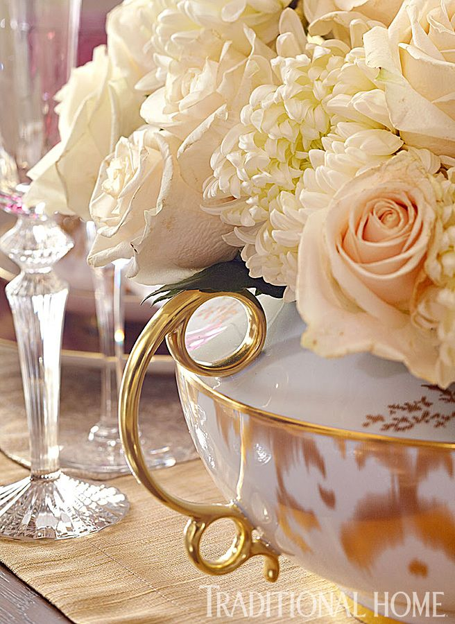 A Fashionable Dinner Party | white roses & mums in a gilded tureen -Traditional Home