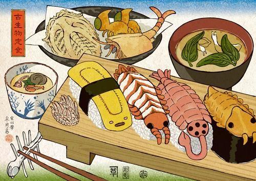 【古生物定食】マーレラとワプティアの天ぷら、カンブロパキコーペの素揚げ。ピカイアとサウマプティロンの味噌汁。エルドニア、オダライア、ディノミスクスの茶碗蒸し。握りは左からオドントグリフス、アノマロカリス、オパビニア、ラガニア。 pic.twitter.com/wRG8w74g0p