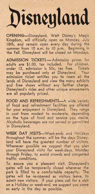 Dinge en Goete (Things and Stuff): This Day in History: Jul 17, 1955: Disneyland opens  (CHECK OUT THE PRICE!)