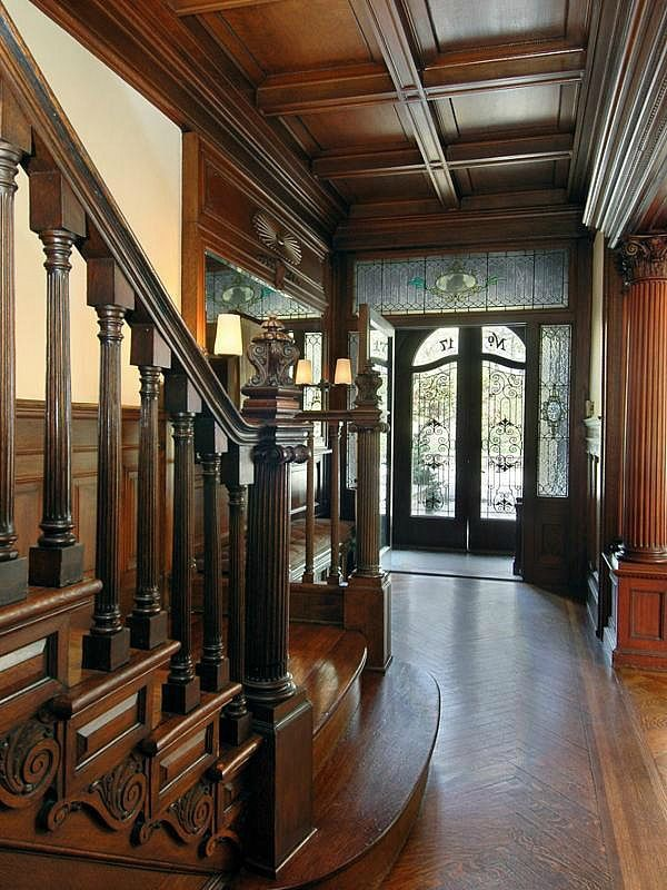 FOYER – great example of an impressive way to welcome guests. Jennifer Connelly & Paul Bettany's Limestone Townhouse in Brooklyn.