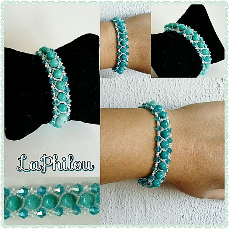 Beadwork Bleu Agate bracelet - LaPhilou