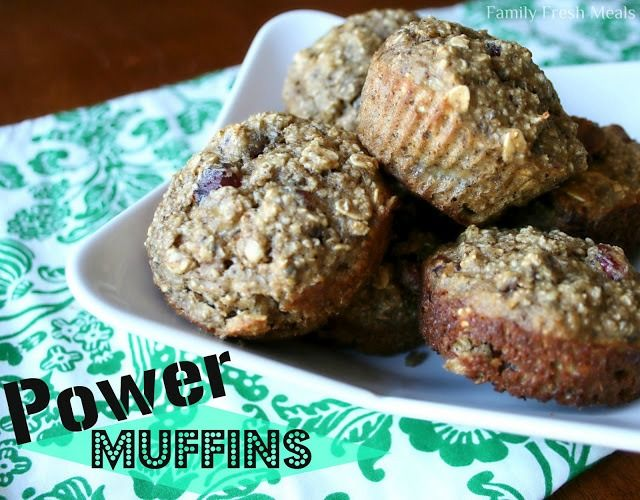 Power Protein Muffins - oats, protein powder vanilla, bananas, egg whites, baking soda, vanilla extract, cinnamon, optional add-ins (almonds, walnuts, raisins, craisins, chia seed)