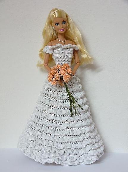 2  #crochet #Barbie #wedding #dresses 46..1..3 qw