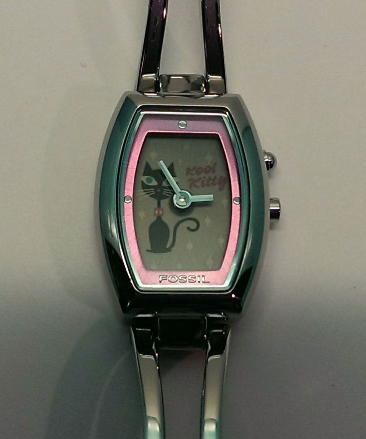 Fossil Big Tic Black Kool Kitty Women's Animated Dress Watch Adorable! ES-9768  $45.00 USD on eBay #Fossil #Dress #Watches www.iiwiiMerchandise.com