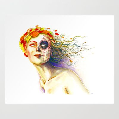 Lady Autumn Art Print by Stephane Lauzon - $15.00