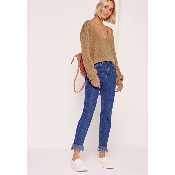 Missguided V-Neck Slouchy Crop Jumper Nude ($31) ❤ liked on Polyvore featuring tops, camel, v-neck tops, slouchy tops, crop top, pink crop top and sexy pink tops