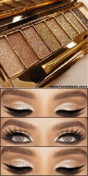 "$15.99 ""Golden Eye"" Glitter eye shadow palette. Build lustrous and exotic eye looks with this palette of nine totally gorgeous eyeshadows. This beautifully crafted palette is perfect for use during the day or for a night out. The highly pigmented eyeshadows allow for easy application and create astounding results. Order yours now from www.FamilyDeals.store"
