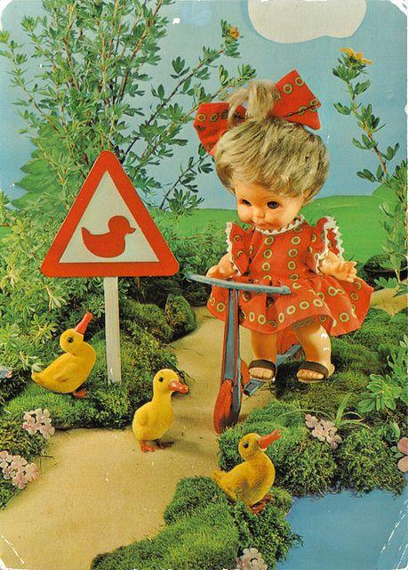 vintage postcard - ducks crossing by kitsch