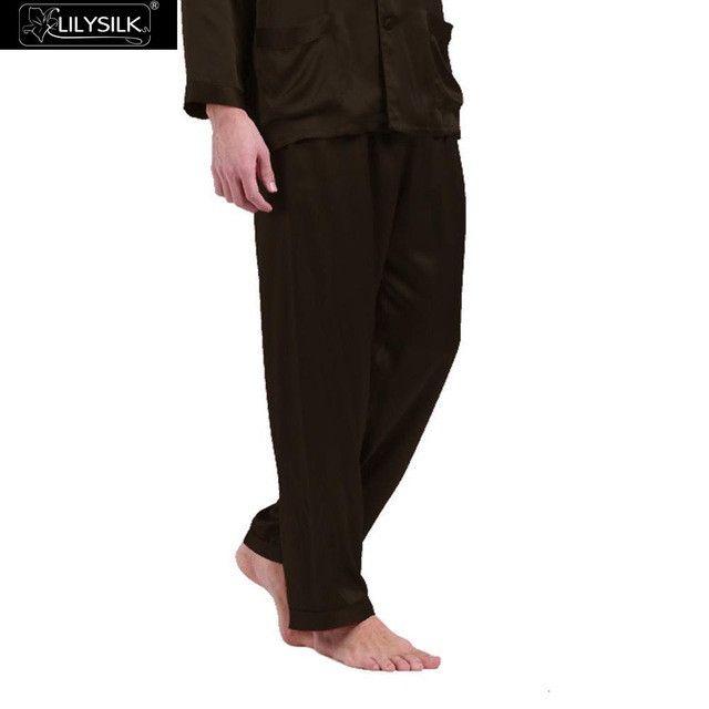 Lilysilk Men Silk Pajamas Bottom Pants Long Sleep Wear 19 Momme Pure Lounge Male Pyjamas Home Pant L Chocolate Brand Clothing