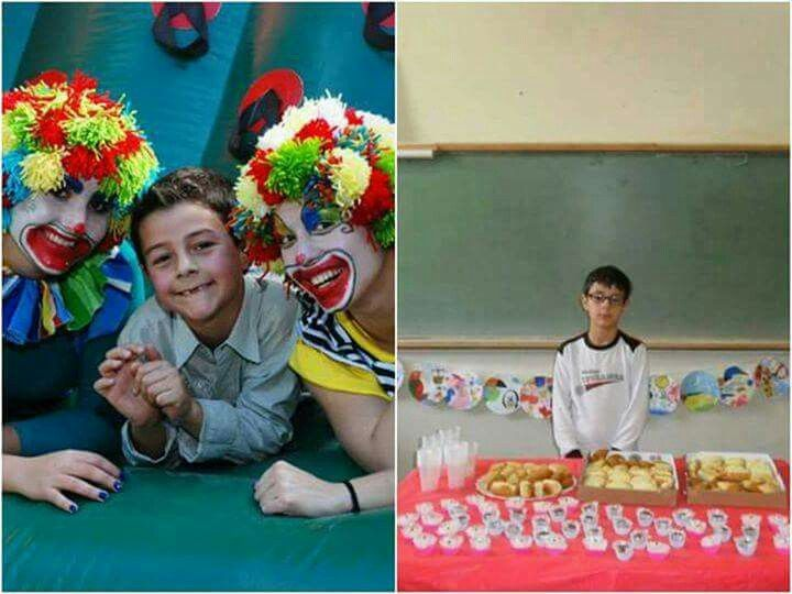 """Aniversário do Bernardo Uglione  Com Odilaine /sem Odilaine (reparem:não há bolo. O """"pai"""",  Leandro Boldrini, não levou)"""