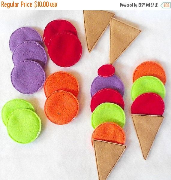 Halloween Sale Felt ice cream cone game- educational game learning toy Eco-Friendly felt game