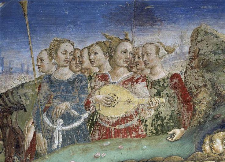 Francesco del Cossa | Allegory of May: Triumph of Apollo (detail)  1476-84 Fresco, 216 x 320 cm Palazzo Schifanoia, Ferrara