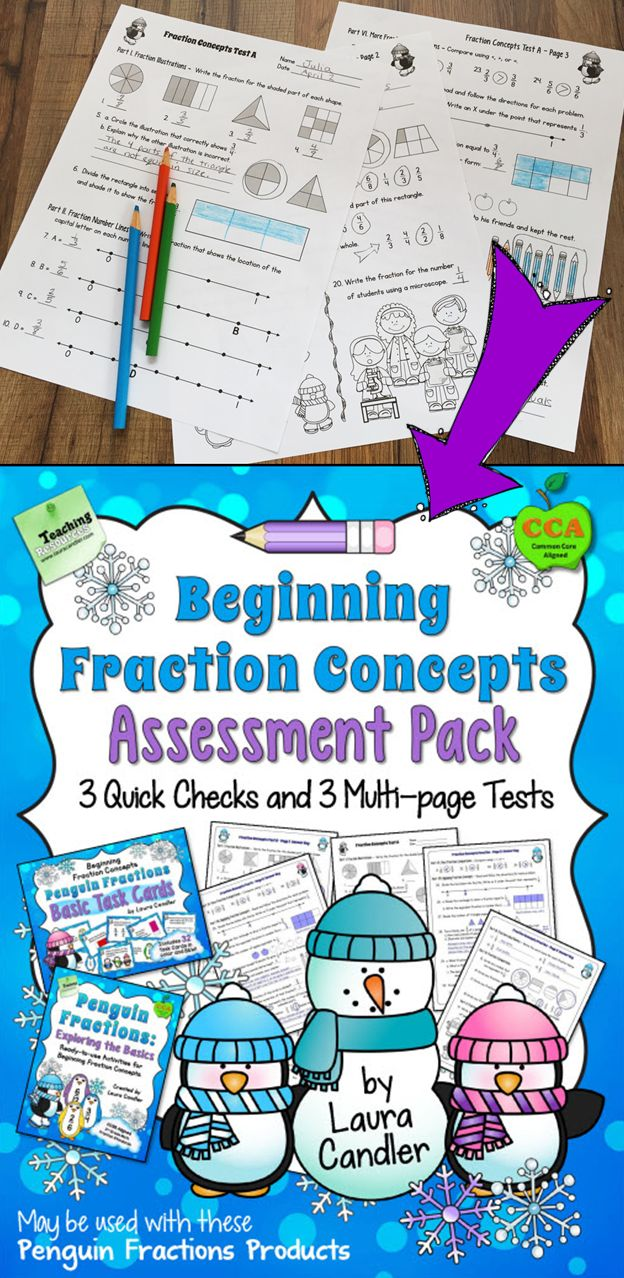 Fraction Tests for Beginning Fraction Concepts from Laura Candler. Includes 3 single-page quick checks and 3 multi-page assessments. $