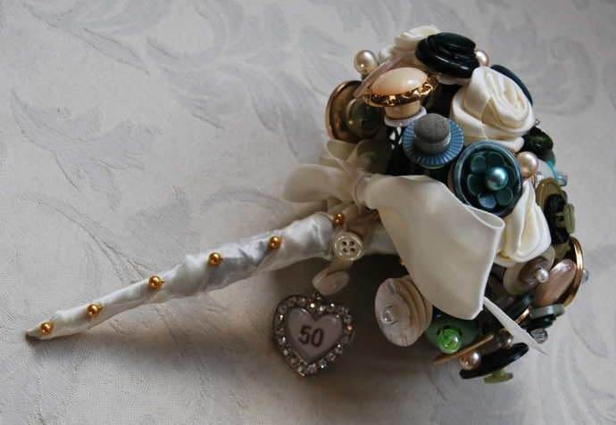 50th Birthday Button Bouquet with handmade ribbon roses and  bouquet  charm and