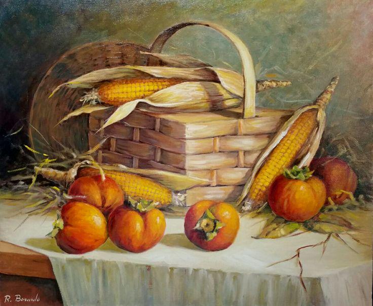 Cachi e pannocchie   olio su tela 50 x 60