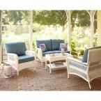 Martha Stewart Living Charlottetown White All-Weather Wicker Patio Lounge Chair with Washed Blue Cushion-65-619556/1 - The Home Depot