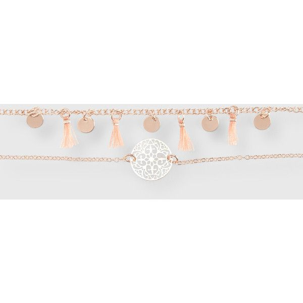 Aeropostale Tassel Disc Short-Strand Choker Necklace 2-Pack ($5.60) ❤ liked on Polyvore featuring jewelry, necklaces, rose gold, choker necklace, cut out necklace, red gold jewelry, tassle necklace and pink gold necklace