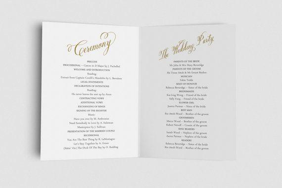 Folded Wedding Program Ceremony Program Order of by KarameleShop
