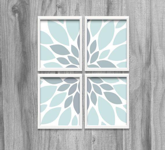 Robins Egg Blue Gray Macro Art Print Set Floral Nature Prints 8x10 5x7 Bathroom Bedroom Wall Decor