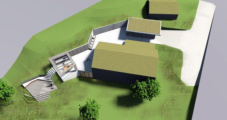 Garden project - gras clad garage, terracce, pergola and terraced garden