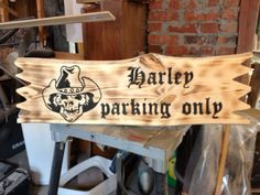 Harley Davidson, wooden sign, freehand routing, woodworking