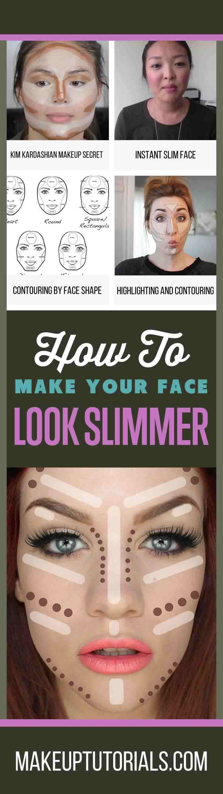 How To Make Your Face Look Slimmer   Easy DIY Tips For Making Your Face Skinnier With Contouring By Makeup Tutorials. http://makeuptutorials.com/5-tutorials-teach-make-face-look-thinner/