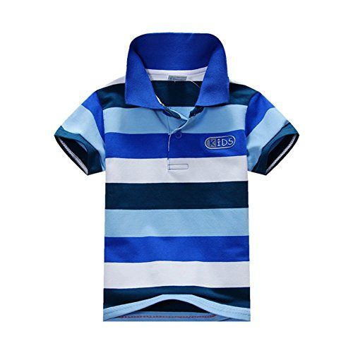 From 3.99 Bobora Baby Boys Summer Cotton Short Sleeve Clothes Tops T-shirt Striped Polo Shirt (xxl(5-6years) C)