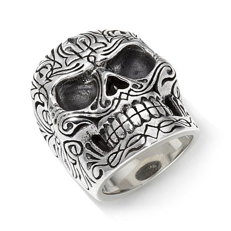 King Baby Jewelry Sterling Silver Men's Pinstripe Skull Ring | HSN