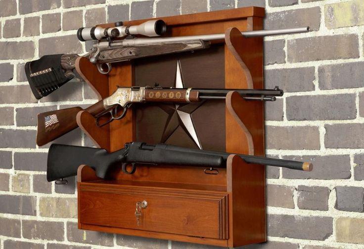 Gun Racks for Wall Mount Locking Display Storage 3 Rifle Shotgun Wooden  #AmericanFurnitureClassics