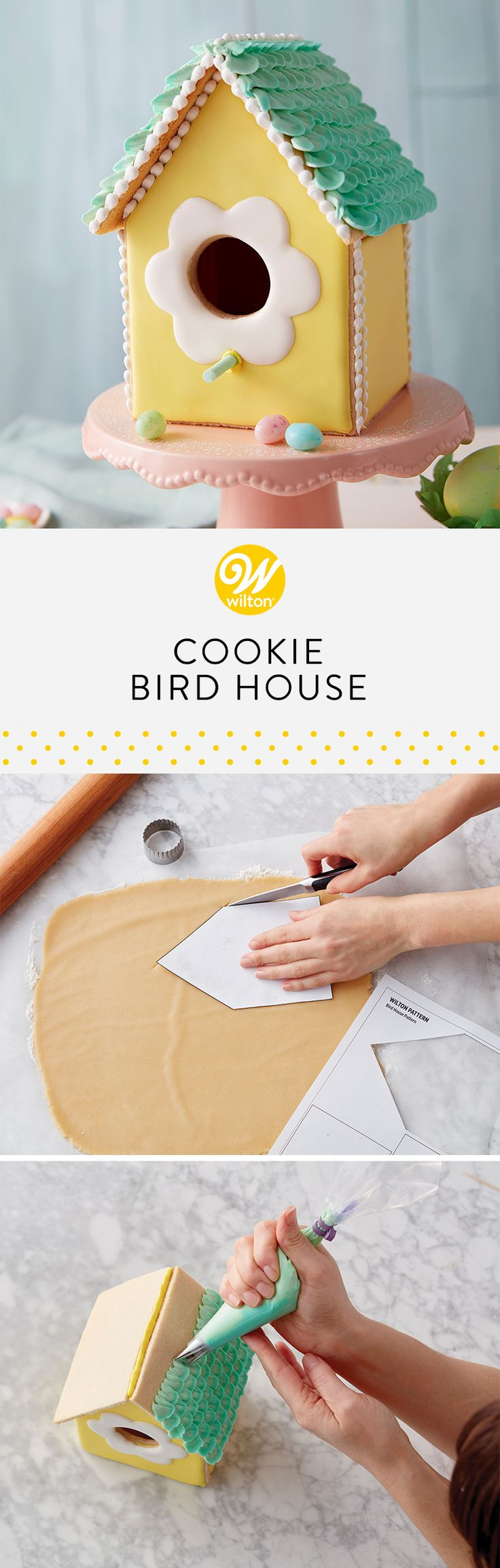 Create a springtime memory and a new holiday tradition by getting the family together to bake, build and decorate a cookie birdhouse. Construction is easy, using the birdhouse patterns, the roll-out cookie recipe and royal icing recipe. Makes a great centerpiece (and dessert) for your Easter dessert table. #wiltoncakes #cookiehouse #cookieideas #easter #eastercookies #birdhouse #easterideas #easterdesserts #inspiration #springbaking