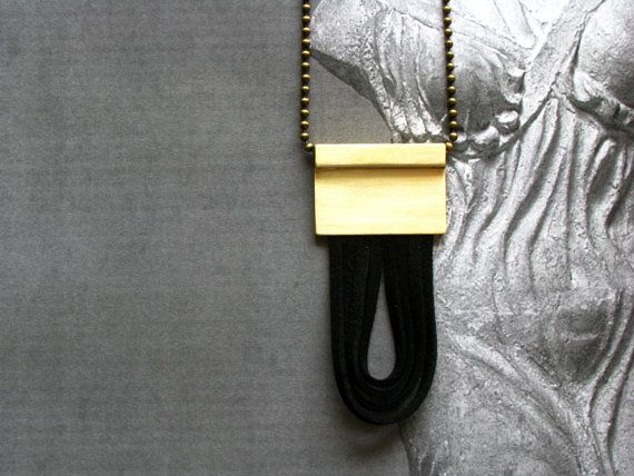 Brass Cord Necklace-Brass Leather by SotiriaVasileiou on Etsy