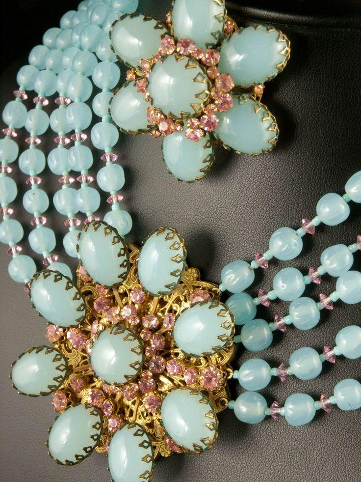 Miriam Haskell Aqua Glass Parure