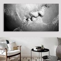 Wish | Fashion Black & White Love Kiss Abstract Art on Canvas Painting Wall Art Picture Print Home Decor (2 Size)