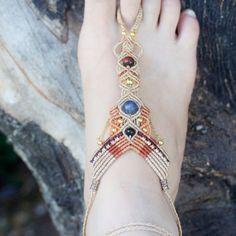 Micro Macrame single barefoot beach anklet/ Barefoot sandal.