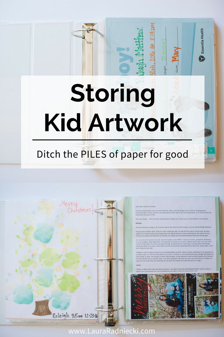 The BEST way to preserve & store kid artwork. Ditch the piles of paper for good!!! Tips for storing kids artwork.