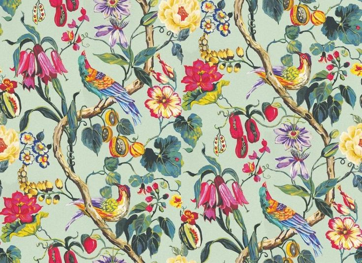 Maldives Lagoon (1805/770) - Prestigious Wallpapers - A bold stylised floral trail with exotic fruits and bright birds. Shown here in fuchsia pink, blues and greens on a duck egg blue green background.  Other colourways are available.  Please request a sample for a true colour match. Wide width product. Paste-the-wall product. Pattern repeat is 99.7 cm.