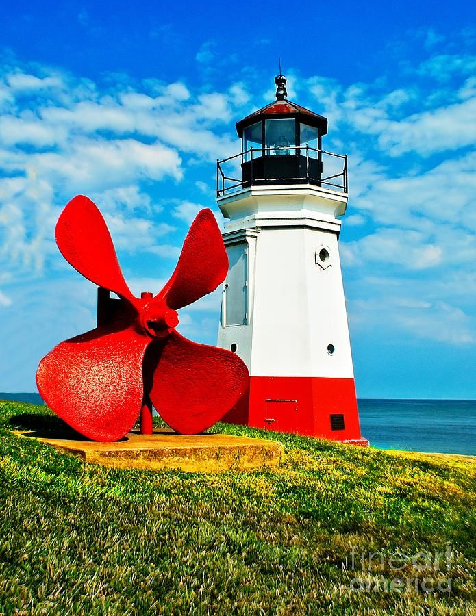 The Vermillion Lighthouse in Ohio on Lake Erie